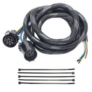 Tow Ready - Tow Ready Fifth Wheel Adapter Harness, 7-Way Flat Pin U.S. Car Connector Assembly 7 ft. w/Pigtails for Choice of Hardwiring 6 or 7-Way Connector, Dodge, Ford, GM, RAM & Toyota