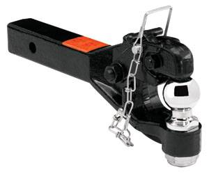 "Tow Ready - Tow Ready 63041 Receiver Mount Pintle Hook w/2"" Ball (Inc. Grade 8 Hardware) Hook Rating 12,000 lbs. (GTW), Ball Rating 7,000 lbs. (GTW), 2,400 lbs. (VL), Black"
