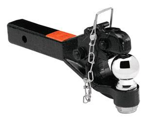 """Tow Ready - Tow Ready 63042 Receiver Mount Pintle Hook w/2-5/16"""" Ball (Inc. Grade 8 Hardware) Hook Rating 12,000 lbs. (GTW), Ball Rating 12,000 lbs. (GTW), 2,400 lbs. (VL), Black"""