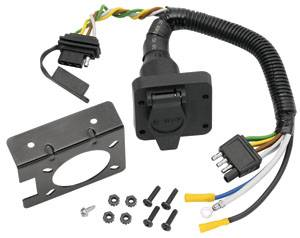 Tow Ready - Tow Ready 20143 6-Way Round Pin Connector/4-Flat Combo Adapter Harness w/Mounting Bracket & Hardware