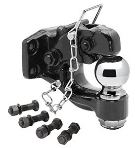 "Tow Ready - Tow Ready 63012 Pintle Hook w/2-5/16"" Ball (Inc. Grade 8 Hardware) Hook Rating 16,000 lbs. (GTW), Ball Rating 14,000 lbs. (GTW), 3,000 lbs. (VL), Black"