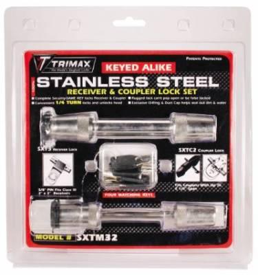 Trimax Locks - Trimax Locks SXTM32 Stainless Steel T3 - 5/8 in. Receiver & TC2 - 2-1/2 in. Span Coupler Lock