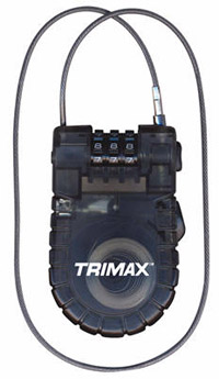 Trimax Locks - Trimax Locks T33RC 3'x 3mm Retractable Cable with 3-Diget Combination Lock