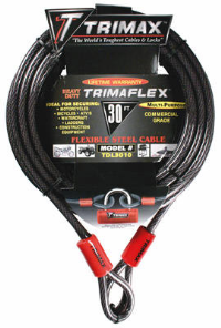 Trimax Locks - Trimax Locks TDL3010 30' X 10mm Trimaflex Dual Loop Multi-Use Cable