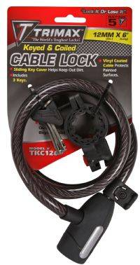 Trimax Locks - Trimax Locks TKC126 High Security Cable Lock with Bracket - Coiled 72 in. X 12mm