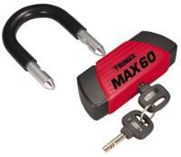 Trimax Locks - Trimax Locks MAX60 Ultra-Max Security Disc U-Lock - Red with Huge 9/16 in. Black Shackle