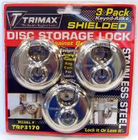 Trimax Locks - Trimax Locks TRP3170 Stainless Steel 70mm Round Padlock with 10mm Shackle - 3-Pack Keyed Alike