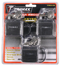 Trimax Locks - Trimax Locks TPW3125 3 Pack Of Keyed-Alike TPW1125 Weatherproof Padlocks