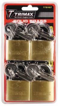 Trimax Locks - Trimax Locks TPB487 4 Pack Keyed-Alike TPB87 Rugged Dual Locking Solid Brass