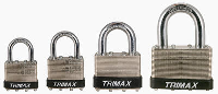 Trimax Locks - Trimax Locks TLM87 Dual Locking 30mm Solid Steel Laminated Padlock with 7/8 in. X 3/16 in.