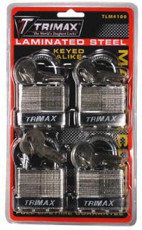 Trimax Locks - Trimax Locks TLM4100 4-Pack of Keyed-Alike TLM100 padlocks