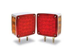 Custer Products - Custer CPL68L Red/Amber LED Double Stud Pedestal Light - Left